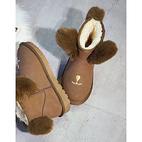 HSXZ Zapatos de mujer invierno PU botas botas de combate Chunky talón puntera redonda Mid-Calf botas para Casual Negro gris marrón oscuro Dark Brown