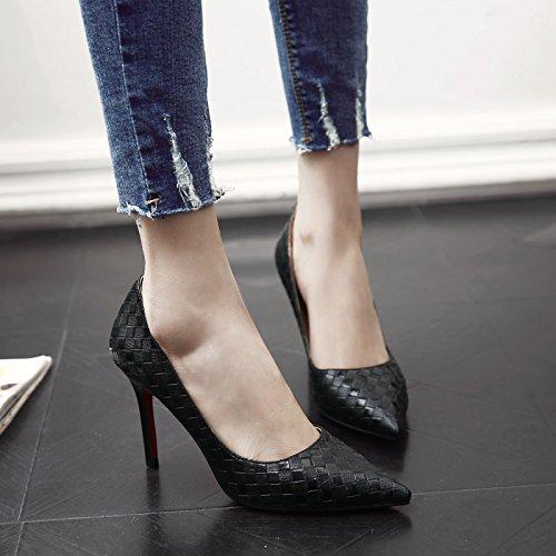 GAOLIM Plata De Alta Heel Shoes Mujer Con Punta Fina Negro Zapatos De Mujer Solo Zapatos Primavera Verano Negro 9cm