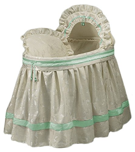 BabyDoll Baby King and Queen Bassinet Liner/Skirt & Hood, Green, 17''x31''