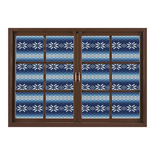 (SCOCICI Window Mural Wall Sticker/Winter,Traditional Scandinavian Needlework Inspired Pattern Jacquard Flakes Knitting Theme Decorative,/Wall Sticker)