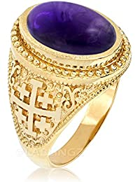 14K Yellow Gold Jerusalem Cross Purple Amethyst February Birthstone Ring