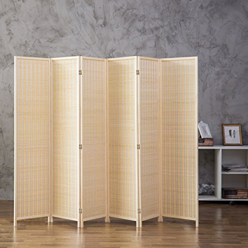 Prime Mygift Decorative Woven Bamboo 6 Panel Room Divider Screen Beige Download Free Architecture Designs Crovemadebymaigaardcom