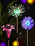 BRIGHT ZEAL Set of 3 Solar Powered Garden Stake Light with Vivid Figurines in Life Size - Dandelion, Lily, Sunflower - Led Solar Patio Lights - Garden Decor Solar Lights - Yard Decoration Stake Lights