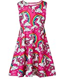 #8: Funnycokid Girls Sleeveless Round Neck Floral Printed Holiday Dress Size 4-13
