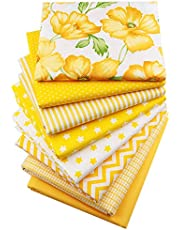 Hanjunzhao Yellow Fat Quarters Fabric Bundles, 100% Cotton Quilting Fabric for Sewing Crafting, 46x56 cm(18x22 inches)