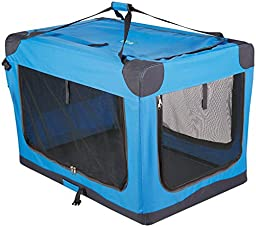 Guardian Gear Nylon Pioneer Soft Dog Crate, Large, Blue