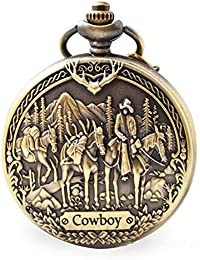 Vintage Cowboy Pocket Watch with Chain for Men Dad Son Boys Christmas, Valentines Day, Birthday Gift