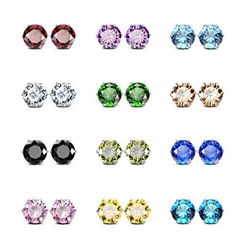 JewelrieShop Stainless Steel CZ Post Earrings Set Birthstone Studs for Women Piercing Hypoallergenic Multi Color Round Square Cuts Cubic Zirconia Sensitive Ears Earrings (12 Pairs,6mm,Round) ()