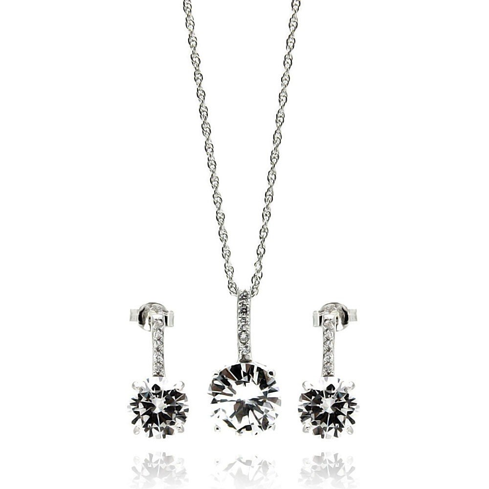 Princess Kylie Round Clear Cubic Zirconia Hanging Matching Set Rhodium Plated Sterling Silver