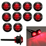 "Ricoy 3/4"" Round LED Underbody Rock Front Rear Side Marker Indicators Light Waterproof Bullet Clearance Marker Light 12V for Car Truck, Pack of 10 (Red)"