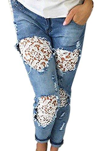 La Pantalones Ankle Denim Azul Casual Mujer Rasgado Llace Jeans Destruido BXrPBvxqw