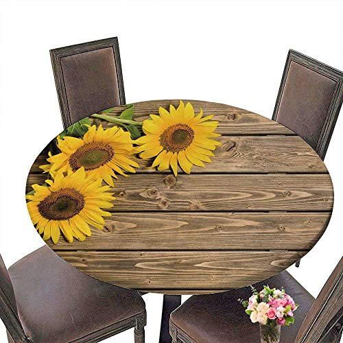 PINAFORE Luxury Round Table Cloth for Home use Three Sunflowers are on The Wooden The May be Used for Your Ideas for Buffet Table, Holiday Dinner 55