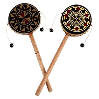 Sanyork 2 Pack Lot Hand Painted Spin Drums~fair Trade~Peru~Percussion Music000581: Toys & Games