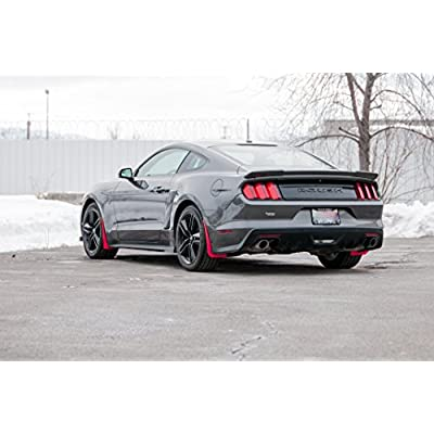 RokBlokz Splash Guards for 2015-2020 Ford Mustang - Rock Guards Fit V6 - Ecoboost - and GT Models (Not GT350/500) (Red, Set of 4 - Front and Rear): Automotive