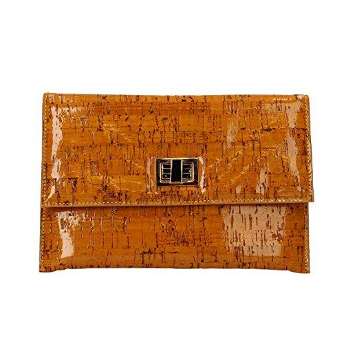 BIBI LOU Unterarmtasche Beutel Handtasche Grün Gelb Lack (Gelb)