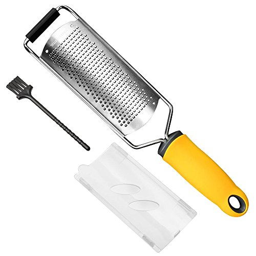 Upgraded Version Lemon Zester, Siasky Stainless Steel Cheese Grater, Ideal Shredder for Cheese, Lemon, Ginger, Garlic - Razor-Sharp Stainless Steel Blade + Protective Cover + Cleaning Brush