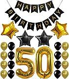50th BIRTHDAY DECORATIONS BALLOON BANNER - Happy Birthday Black Banner, 50th ...