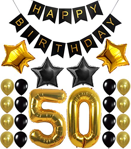 KATCHON Gold 50th Birthday Decorations Kit - Large, Pack of 26 | Number 5 and 0 Party Balloons Supplies | Black Happy Birthday Banner | Perfect for 50 Years Old Décor
