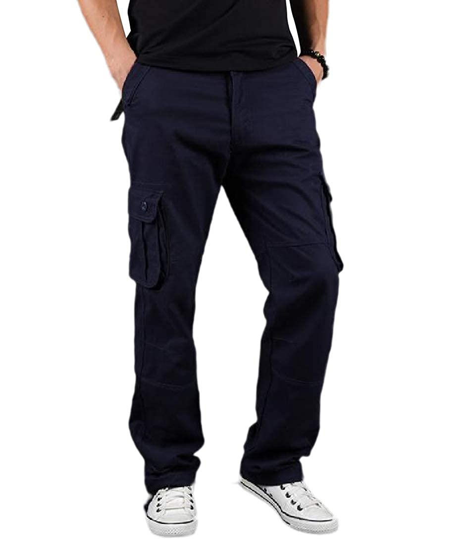 Fseason-Men Relaxed-Fit Plus-Size Basic Cotton Mid Waist Combat Work Pants