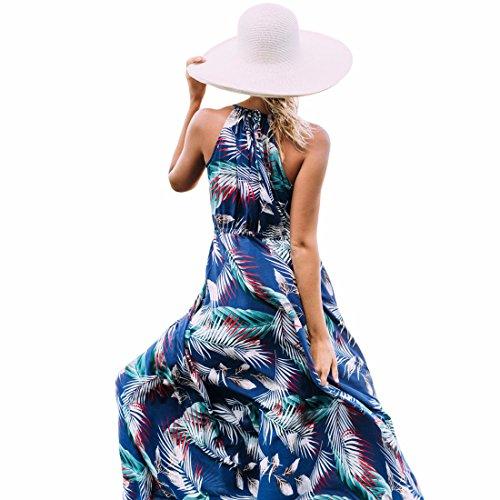 QIYUN.Z Halter De Las Mujeres Del Cuello Sin Respaldo Negro Playa Vestido Largo Dobladillo Grande Vestido De Verano De Impresion LC61569-Azul