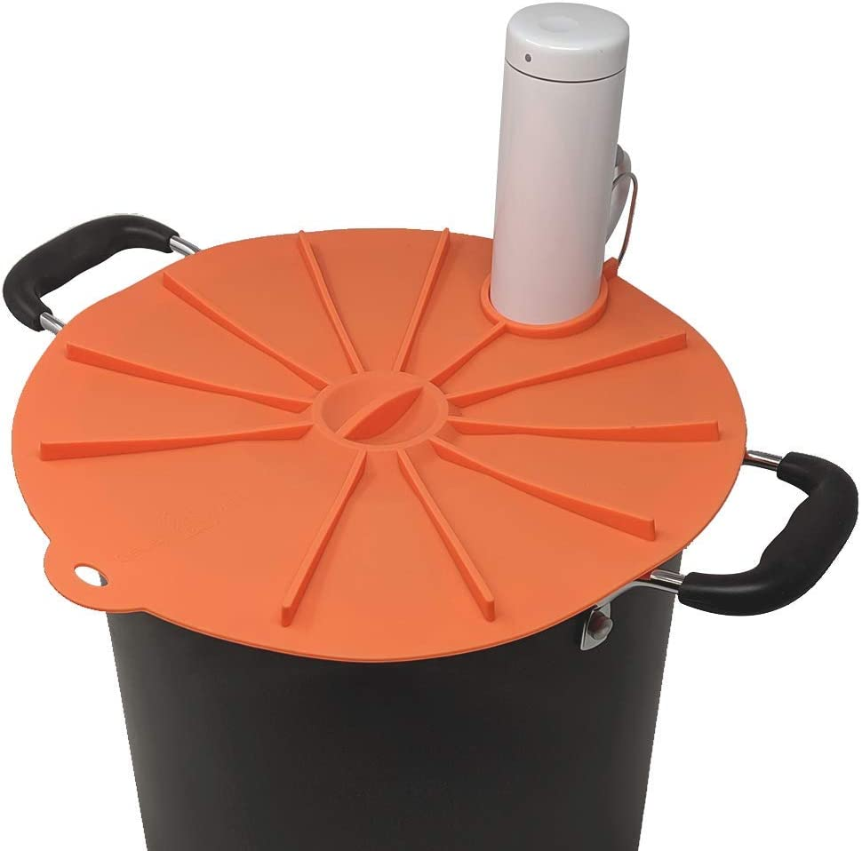 Cellar Made Joule Sous Vide Silicone Lid for a Stockpot - 11 Inches - Large - Joule Orange