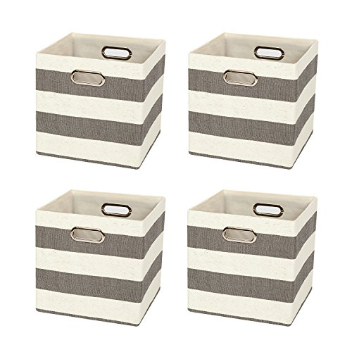 Posprica Collapsible Cube Organizers,Storage Cube Bins Boxes Basket Containers Drawers for Nurseries,Offices,Closets,Home Décor (4, Gery stripe)