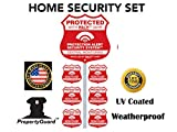 Home Alarm Yard Sign w Post & 6 Alarm System Stickers! Bonus Warning Security Camera Decal included!