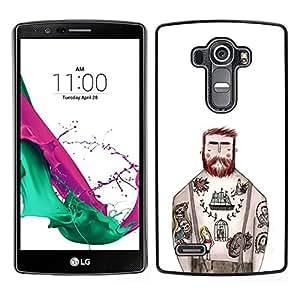 // PHONE CASE GIFT // Duro Estuche protector PC Cáscara Plástico Carcasa Funda Hard Protective Case for LG G4 / Tattoo Captain White Ink Rustic Man /
