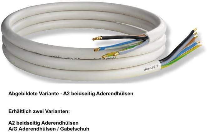 Herdanschlussleitung 5g 5 Ader Aderquerschnitt 1 5 Und 2 5 Mm Weiß A G Aderendhülse Gabelschuh 2 5mm 1 5m Baumarkt