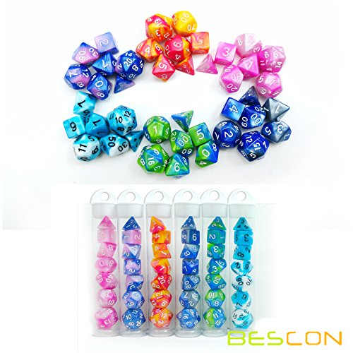 Bescon Mini Gemini Two Tone Polyhedral RPG Dice Set 10MM, Mini RPG Dice Set D4-D20 in Tube Packaging, Assorted Colored of 42pcs (7X6 Different Colors)