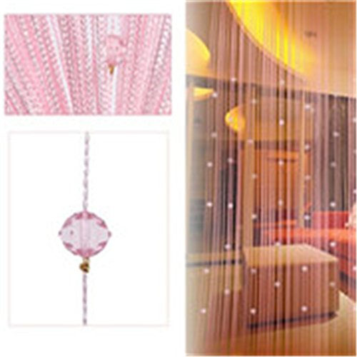MLZ 1X2M Garland Curtain Crystal Beads Curtains Silk Tassel Door Divider Sheer Valance Panel Windows Curtains Home Decoration Pink (1 Window 2 Circle Blinds)