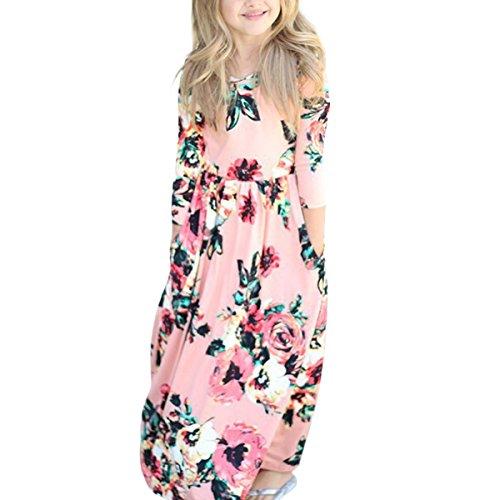 Bb Fille Floral Print Maxi Manches Longues A-Ligne Summer Beach Dress avec Poche Pink