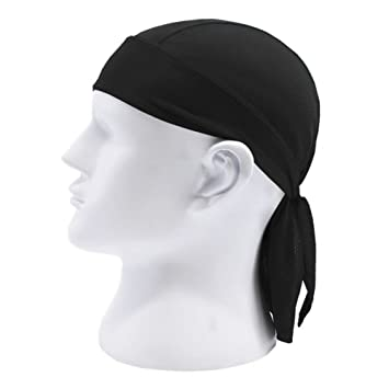 FENGLANG Fitted Tied Mens Womens Pure Color Hat Biker Motorcycle Bandana  Head Wrap (Black) 37d13ed3d4a