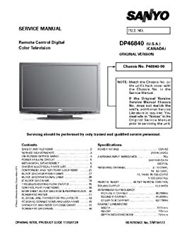 sanyo dp46840 service manual with schematics sanyo amazon com books rh amazon com Sanyo User Manual Sanyo User Manual