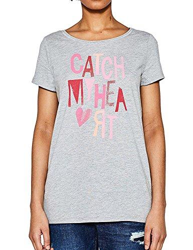 Esprit Women's Women's Grey Valentines T-Shirt in Size M Grey Esprit Womens Tee
