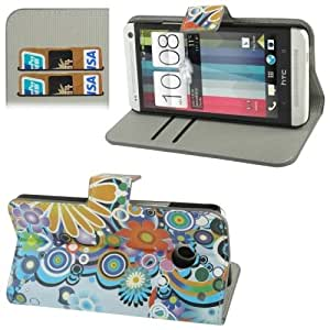 Colorful Daisy Flower Pattern Horizontal Flip Leather Case with Credit Card Slot & Holder for HTC One / M7