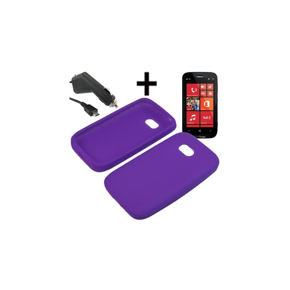 AM Silicone Sleeve Gel Cover Skin Case for Verizon Nokia Lumia 822 + Car Charger Purple