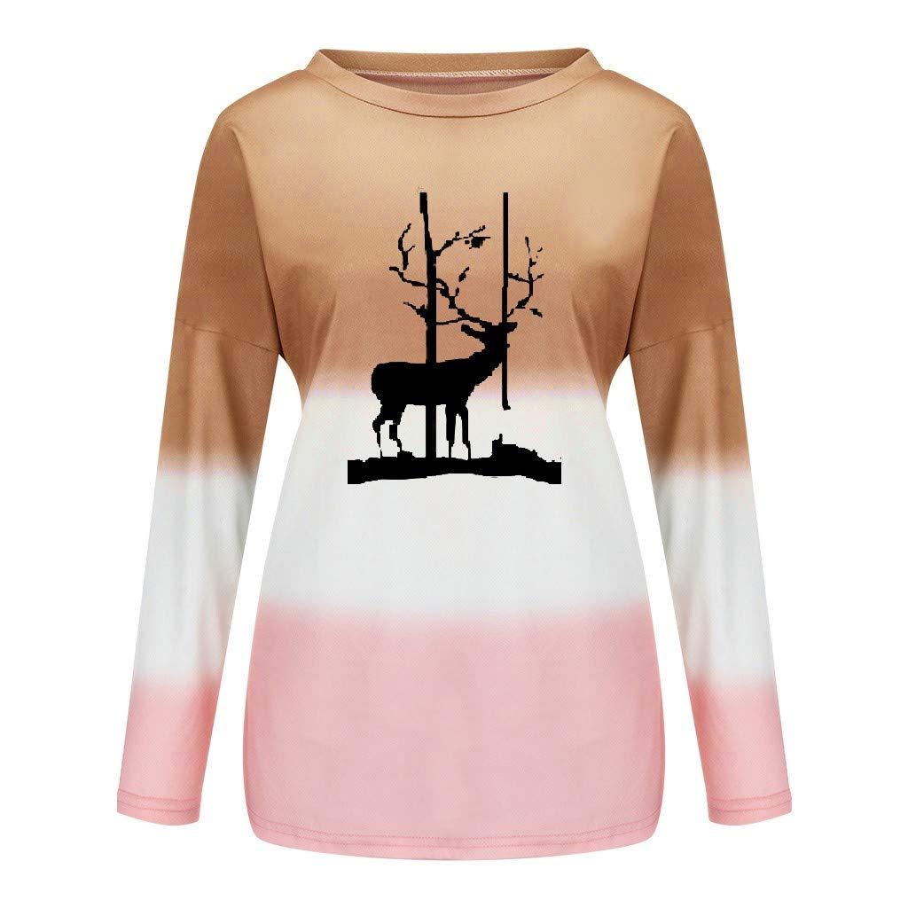 EDC Womens Tie Dye Deer Printed Sweatshirt Christmas Long Sleeve Crewneck Pullover Tops Blouse Shirts Plus Size.S-5XL