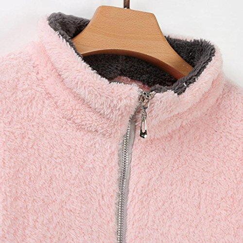 Cremallera Polar Invierno Larga Ropa Mandarín Cuello De Cálido Collar Manga Mujer Lilicat Blusa Abrigo Rosa pwqTz