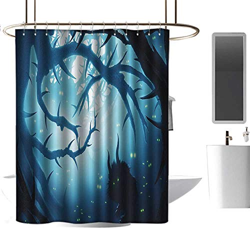 Shower Curtains Black Panther Mystic House Decor,Animal with Burning Eyes in Dark Forest at Night Horror Halloween Illustration,LNavy and White,W72 x L96,Shower Curtain for -