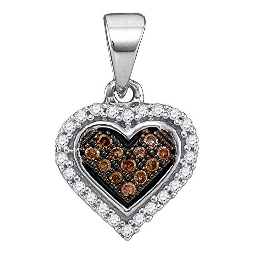 Sonia Jewels 14K White Gold Micro Pave Set Chocolate Brown & White Heart Halo Diamond Pendant Charm (1/8 cttw.)