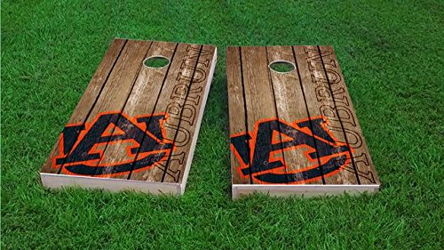Tailgate Pro's Auburn Tigers Distressed Cornhole Boards, ACA Corn Hole Set, Comes with 2 Boards, 8 All Weather Bags & 2 Board Hole Lights