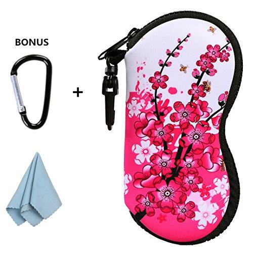 xhorizon FLK Sunglasses Soft Case Ultra Light Neoprene Zipper Eyeglass Case w/ Belt Clip with Bonus D-ring Hook and Large Cleaning Cloth Purse Sunglasses