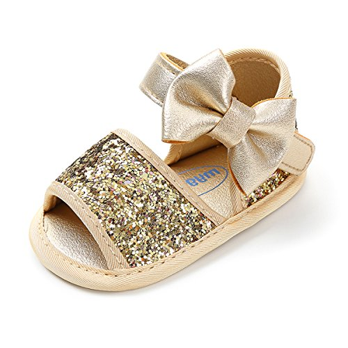 (RVROVIC Baby Girl Sandals - Soft Sole Infant Girl Summer Crib Shoes Princess Dress Flats (5.12 inch (12-18 Months), 5-Gold))