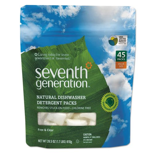 Seventh Generation Natural Automatic Dishwasher Detergent, Unscented, 45/Pack (8 Packs/Carton) - BMC- SEV22897 by Miller Supply Inc