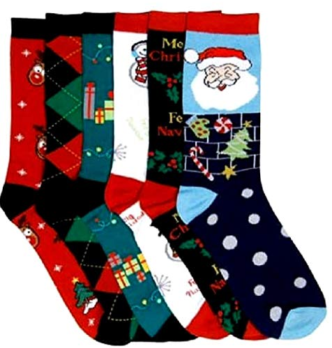 I&S 6 Pairs Christmas Socks, Printed Fun Colorful Festive, Crew Sock Women Fancy Design Soft (Christmas #1)