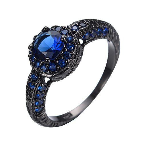 JunXin Delicate 6MM Round Shape Blue Sapphire Black Gold Halo Rings Wedding Size6/7/8/9/10(10)