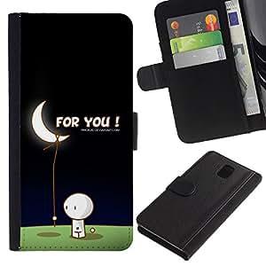 """Samsung Galaxy Note 3 III N9000 N9002 N9005 , la tarjeta de Crédito Slots PU Funda de cuero Monedero caso cubierta de piel ("""" Moon Art Love Man Bring Stars Romance Gift"""")"""