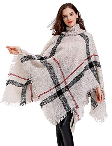 HITOP Womens Dress Ponchos, Boho Loose Tassel Plaid Poncho Turtleneck Jumper Knit Oversized Pullover Sweater Tops for Women Beige