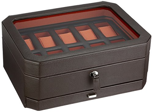(WOLF 458606 Windsor 10 Piece Watch Box with Drawer, Brown )